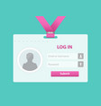 login user interface vector image vector image