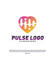 love heart pulse logo design concept people beat vector image vector image