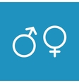 male and female white icon on blue background vector image vector image