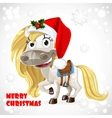 merry christmas card with cute white bahorse vector image