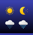 modern weather icons set flat symbols on dark vector image vector image
