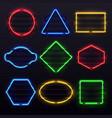 realistic glowing neon frames vivid electric vector image vector image