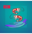seafood themed with shrimps wave and vector image