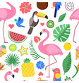 seamless pattern with various pictures of tropical vector image vector image