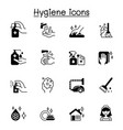set hygiene related icons contains such icons vector image
