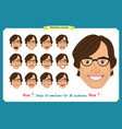 set of male facial emotions man emoji vector image vector image