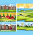 set urban and rural landscape vector image vector image