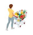 shopping cart full food woman pushing vector image vector image