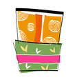 The gift boxes are piled up vector image vector image