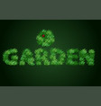the word garden is written with a texture of vector image