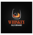 whiskey glass with ice logo brand whisky vector image vector image