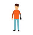 young man with prosthetic arm colorful vector image vector image