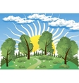 Forest landscape with sun vector image
