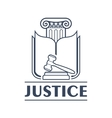 Judge hammer or gavel in front of book and column vector image