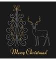 Christmas tree and reindeer vector image