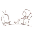 A plain sketch of a boy watching TV vector image vector image