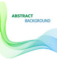 abstract background with green and blue line wave vector image vector image
