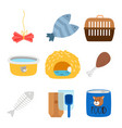 accessories and food for cats icons set vector image vector image
