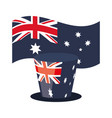 australia flag heart and top hat vector image