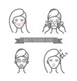 beauty care icons acne treatment demodicosis vector image vector image