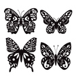 butterflies silhouette isolated on white vector image vector image