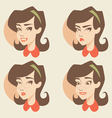 Cartoon girl face vector image vector image