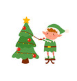 childish elf decorating christmas tree flat vector image vector image