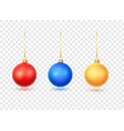 christmas ball set red blue gold vector image vector image