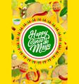 cinco de mayo mexican holiday food and maracas vector image vector image
