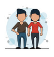 color background with faceless couple in casual vector image vector image