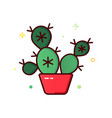 color line icon cactus vector image