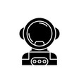 cosmonaut in space black icon sign on vector image