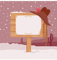 cowboy christmas background with wood board vector image vector image