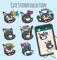 cute cat emoji sticker collections vector image