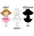 different graphic style doodle princes vector image