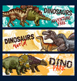dinosaur dino and jurassic monster banners vector image vector image