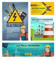 electrician engeneering poster vector image vector image