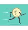Euro coin running vector image vector image