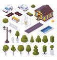 exterior isometric set with townhouse trees pool vector image
