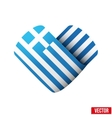 Flag icon in the form of heart I love Greece vector image vector image