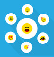flat icon expression set of cross-eyed face vector image vector image