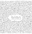 happy new year 2020 snow winter holiday calendar vector image