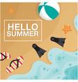 hello summer beach seashore beach ball fins backgr vector image