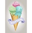 Ice cream balls waffle cone isolated on white vector image