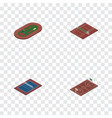 isometric training set of volleyball run stadium vector image