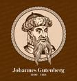 johannes gutenberg was a german printer vector image vector image