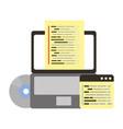 laptop compact disk coding web development vector image