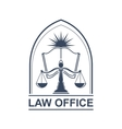Lega center or law office icon with scale and book vector image vector image