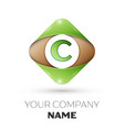 letter c logo symbol on colorful rhombus vector image vector image