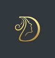 letter d beauty face logo design icon